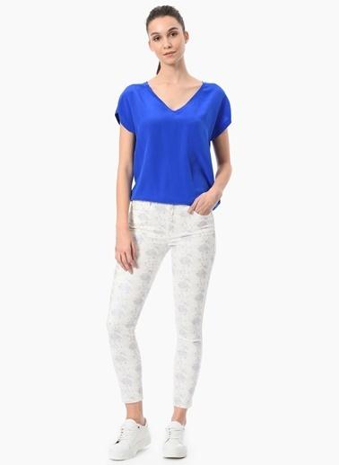 NetWork Slim Fit Desenli Pantolon Beyaz